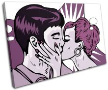 Retro Pop Art Kissing Purple Love - 13-0179(00B)-SG32-LO